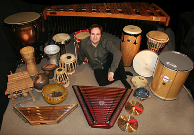 Richard Moore with a selection of percussion instruments
